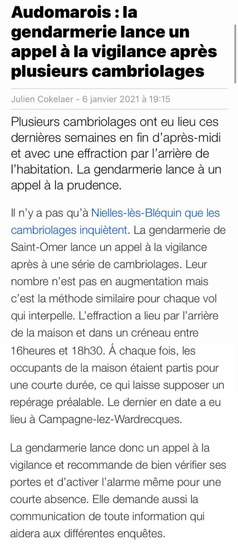 Article vdn cambriolages