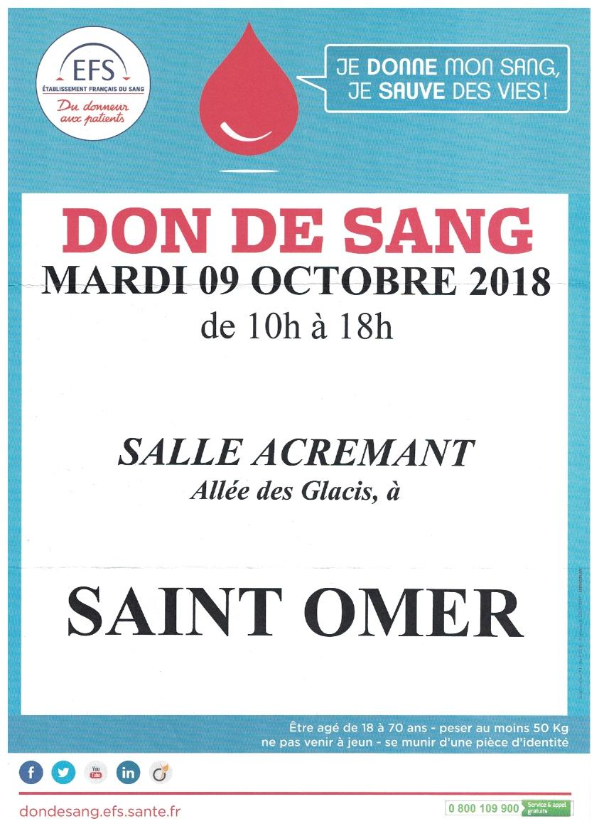 Don de sang 9 octobre