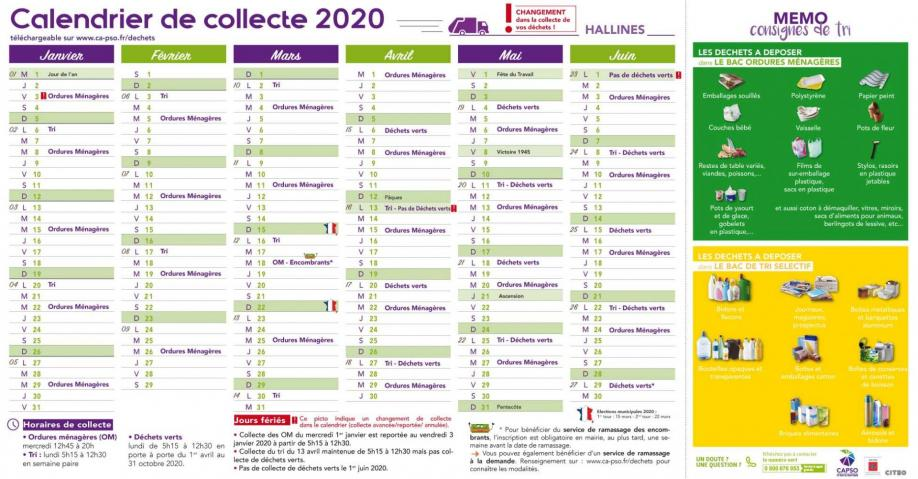 Hallines calendrier collecte1