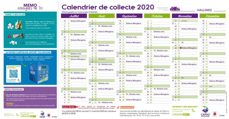 Hallines calendrier collecte2