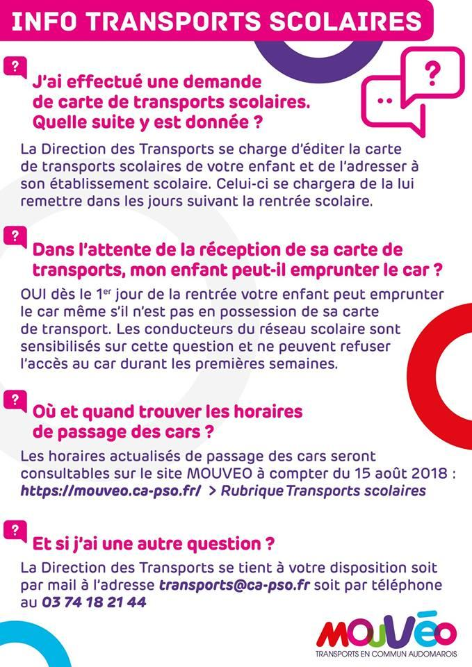 Info transports scolaires 2