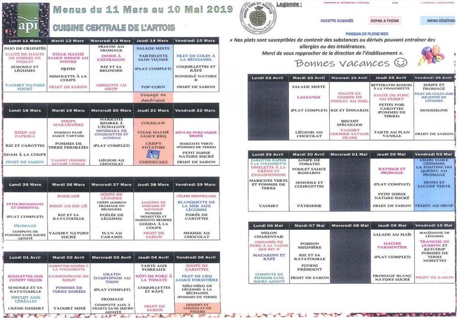 Menu api du 11 mars au 10 mai