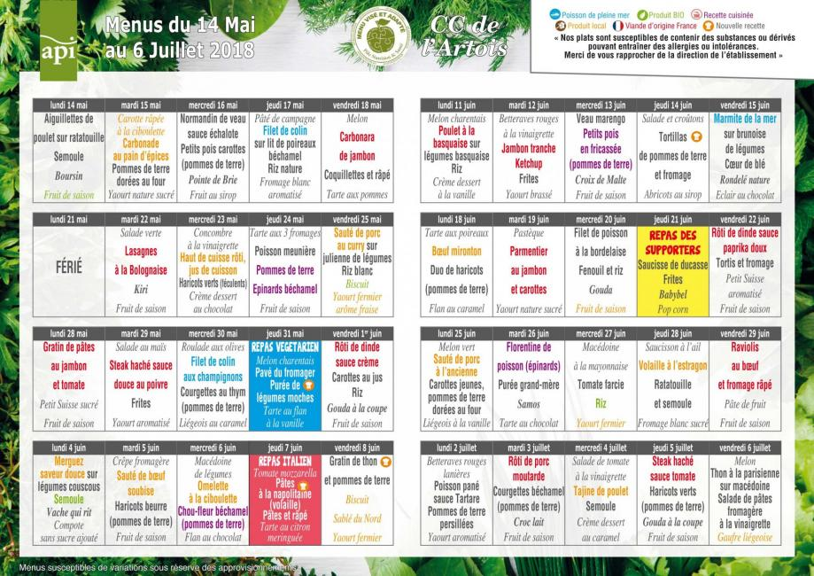 Menus scolaire du 14 mai au 6 juillet