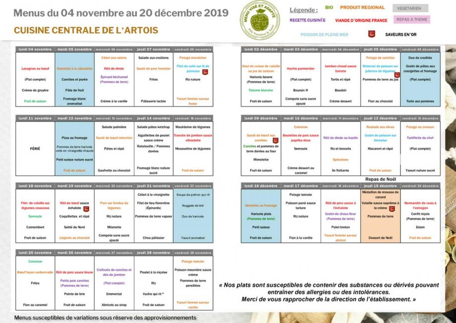 Menus scolaire novembre et decembre 2020